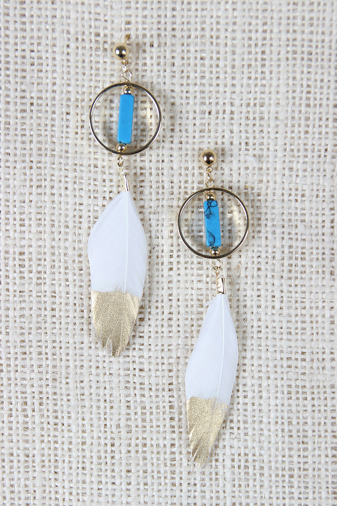 Sacred Ibis Feather Drop Earrings
