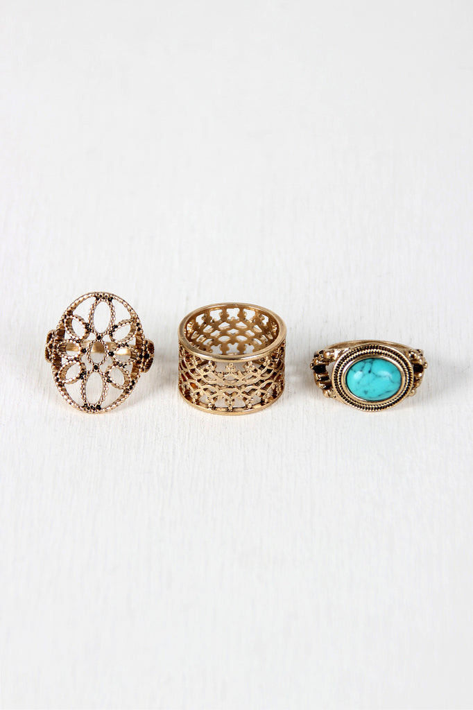 Stone and Cutout Ring Set