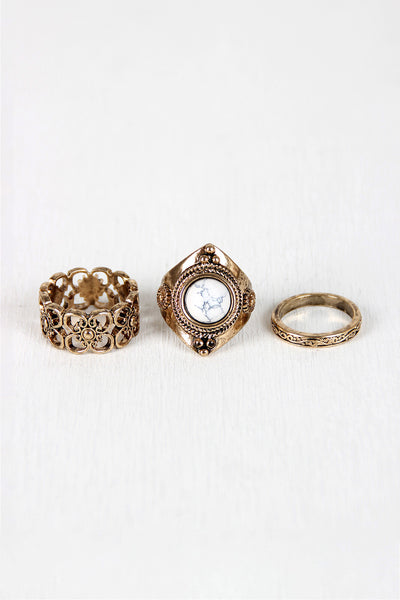 Floral Cutout and Stone Ring Set
