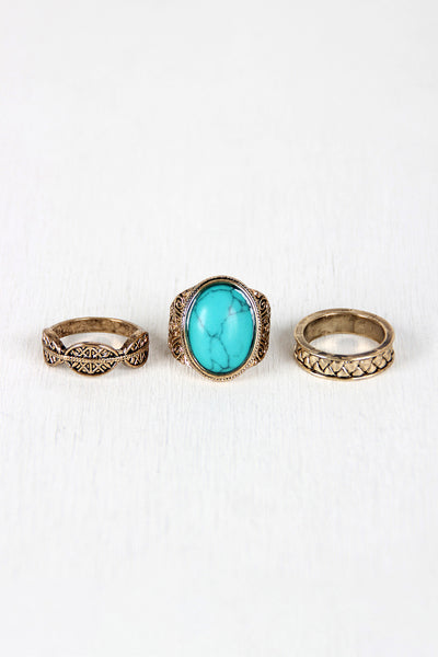 Native Stone and Etched Ring Set