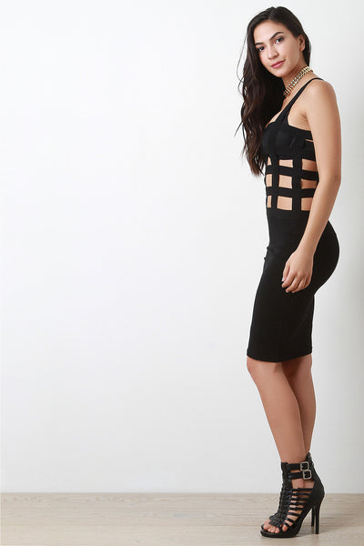 Elastic Caged Bodice Bodycon Dress