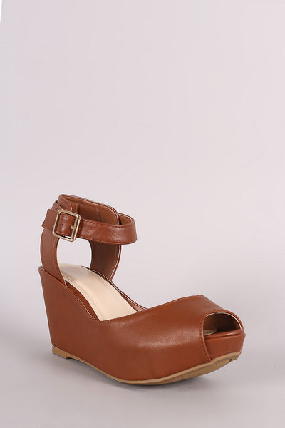 Bamboo Peep Toe Ankle Strap Platform Wedge
