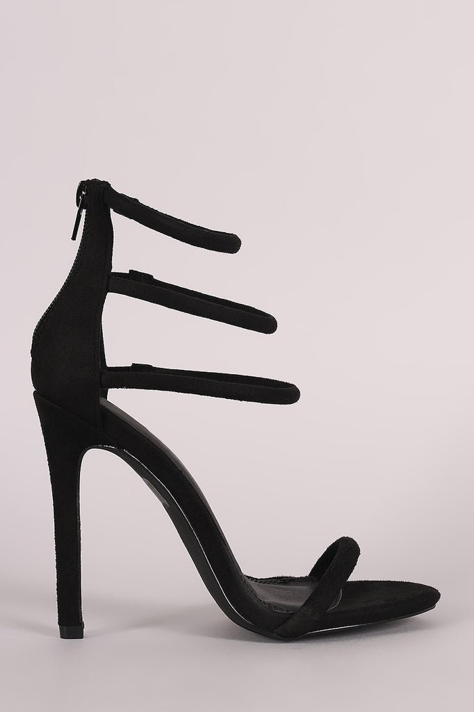 Suede Triple Ankle Strap Single Sole Heel