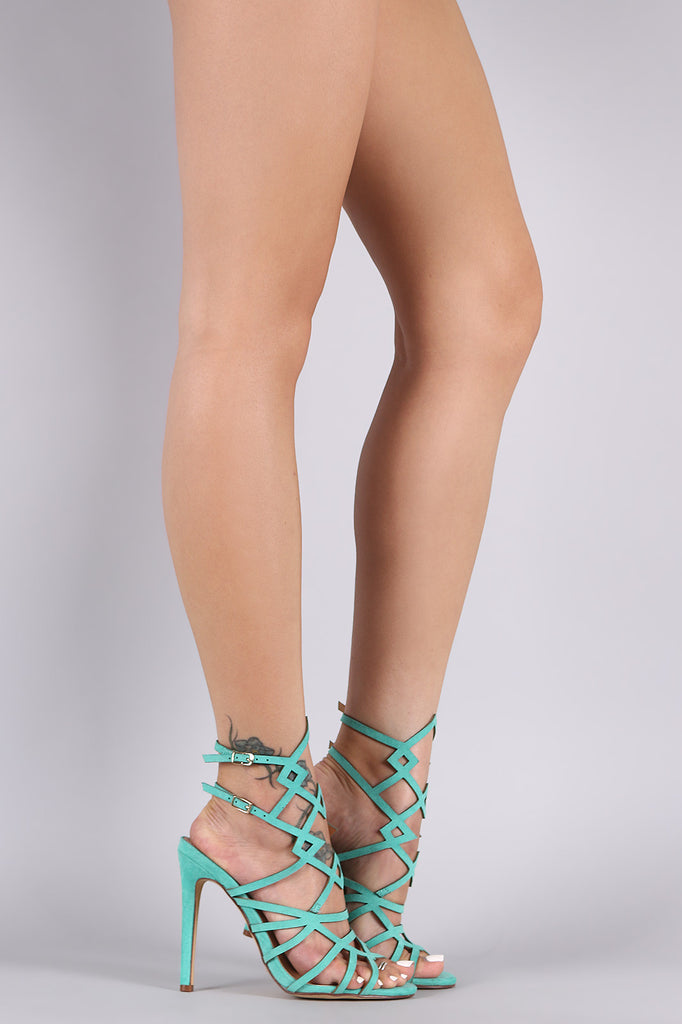 Suede Caged Peep Toe Stiletto Heel