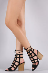 Qupid Striking Straps Chunky Heel Booties