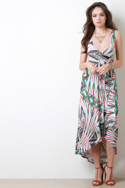 Abstract Surplice Wrap Style Maxi Dress