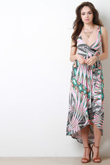 Abstract Surplice Wrap Style Maxi Dress - JDI Threads