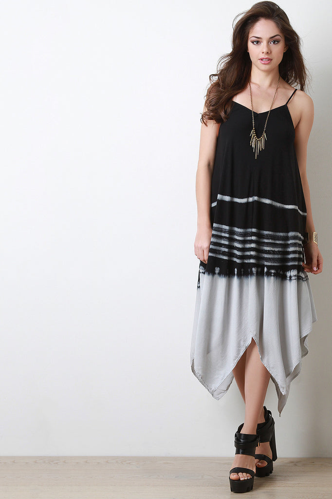 Striped Tie Dye Handkerchief Hem Maxi Dress