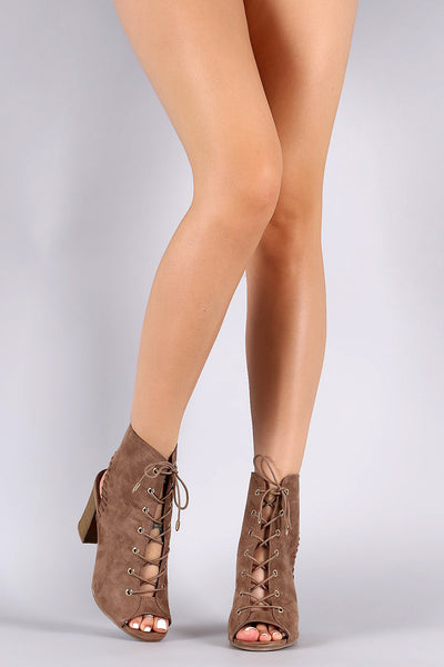 Wild Diva Lounge Peep Toe Lace-Up Booties