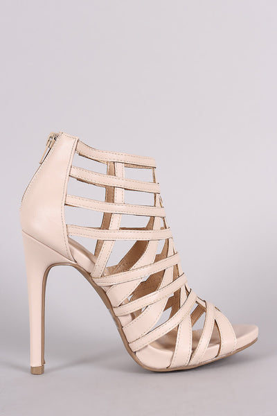 Wild Diva Lounge Strappy Caged Stiletto Heel