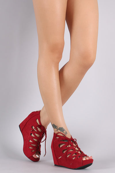 Bamboo Seude Teardrop Cutout Lace-Up Wedge