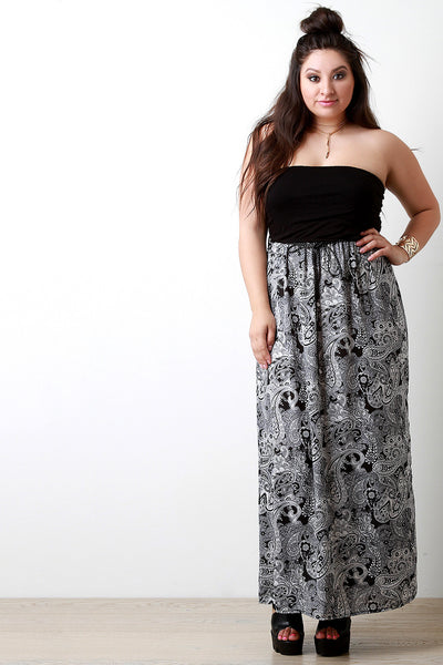 Empire Waist Paisley Boho Belted Maxi Dress