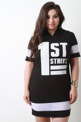 Sporty 1st Street Graphic Print Hooded Mini Dress