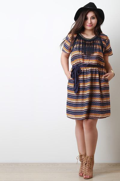 Chained Round Neck Macrame Fringe A-Line Dress