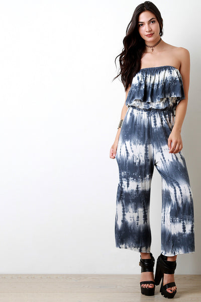 Tie Dye Ruffle Off The Shoulder Jumpsuit