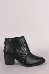 Qupid Perforated Cowgirl Chunky Heeled Booties