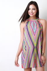 Mock Neck Sleeveless Neon Tribal Print Shift Dress