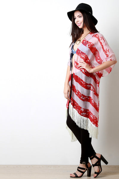 Wear It Proudly Fringe Trimmed Poncho