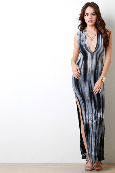 Plunging V Tie Dye Crisscross Back Maxi Dress