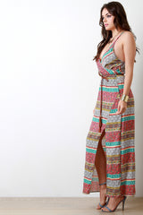 Boho Print Surplice V-Neck Maxi Dress