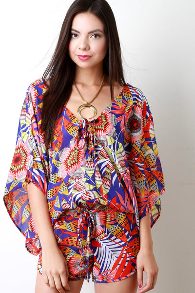 Tropical Leaves Chiffon Kimono Sleeves Romper