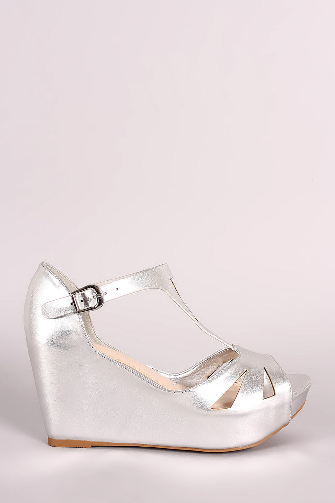 Bamboo Metallic Cutout Peep Toe Platform Wedge