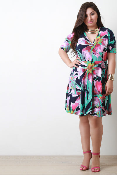 Abstract Floral Surplice Elbow Sleeve Wrap Midi Dress