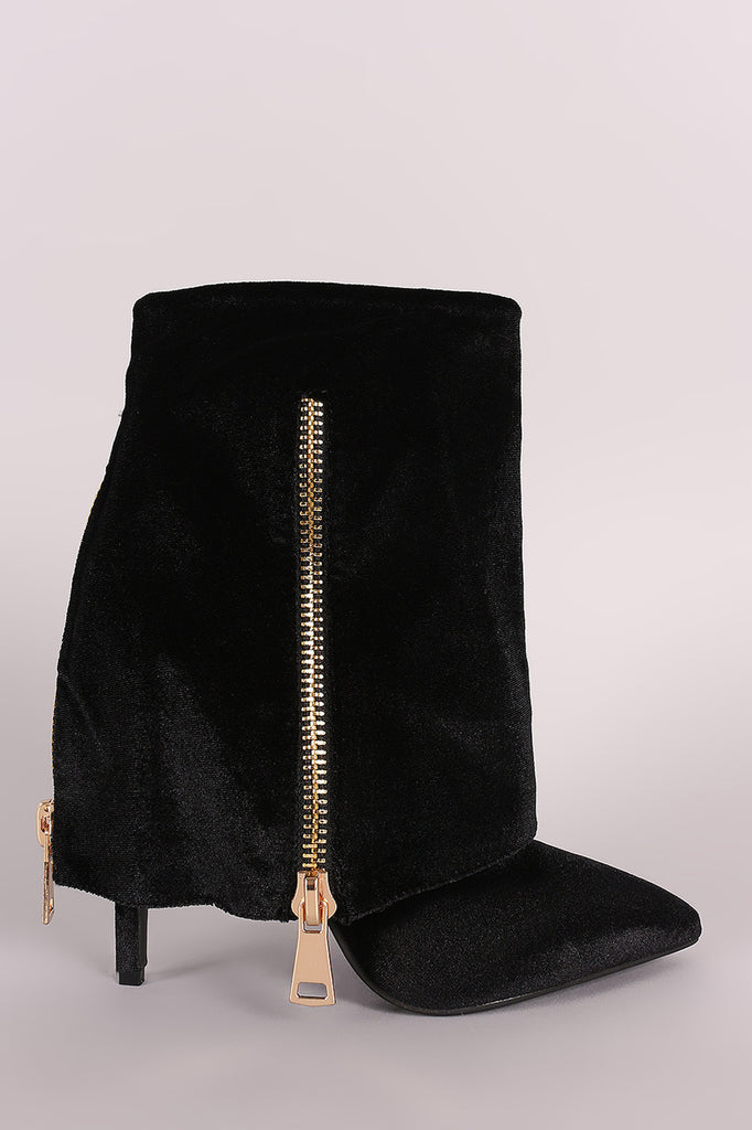 Suede Fold Down Shaft Zipper Accent Stiletto Booties