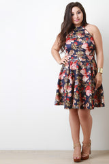 Mock Neck Halter Floral Print Pleated Dress