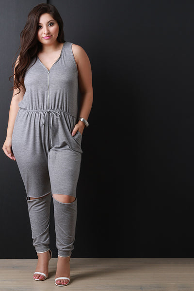 Adjustable Zippered V-Neckline Knit Jumpsuit