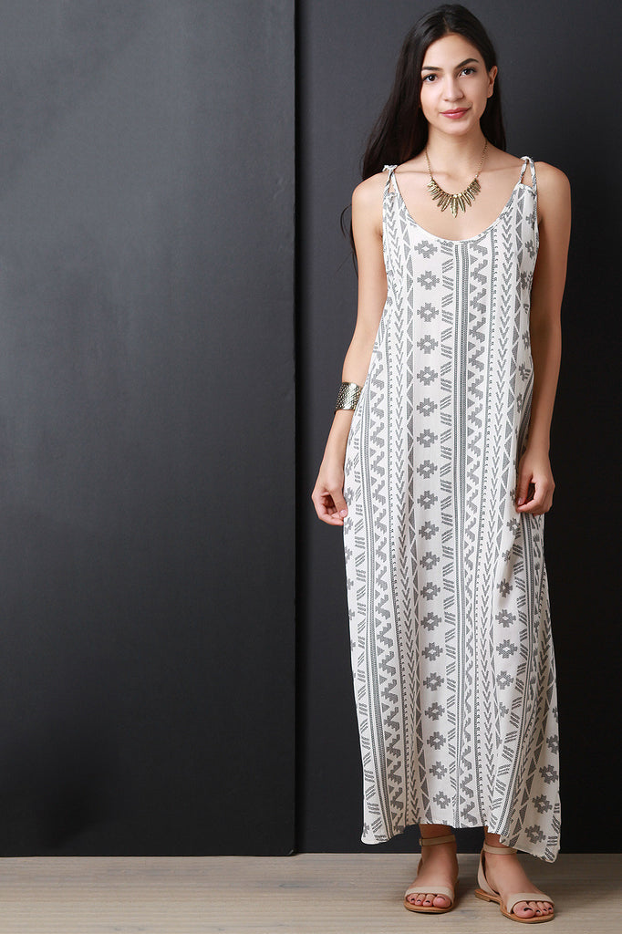 Tribal Print Lace Back Maxi Dress