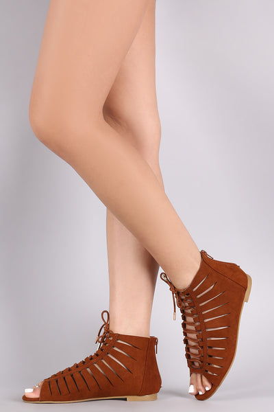 Bamboo Suede Slash Cutout Lace-Up Flat Sandal