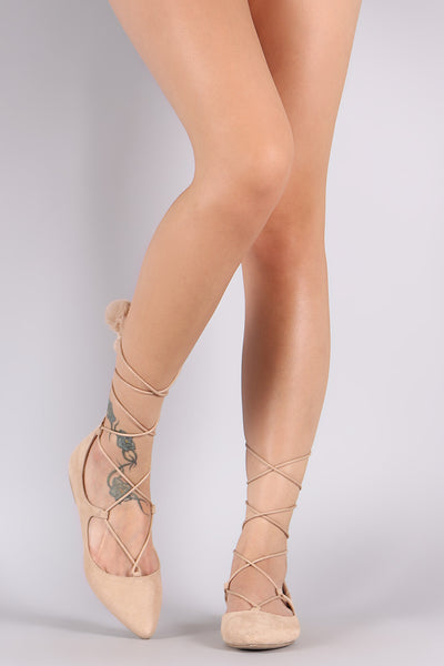 Wild Diva Lounge Suede Pointy Toe Lace-Up Ballet Flat