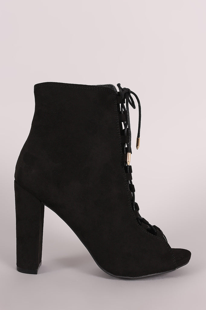 Wild Diva Lounge Combat Lace Up Chunky Heeled Booties