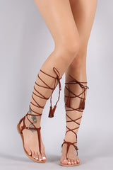 Qupid Studded T-Strap Tassel Lace-Up Flat Sandal