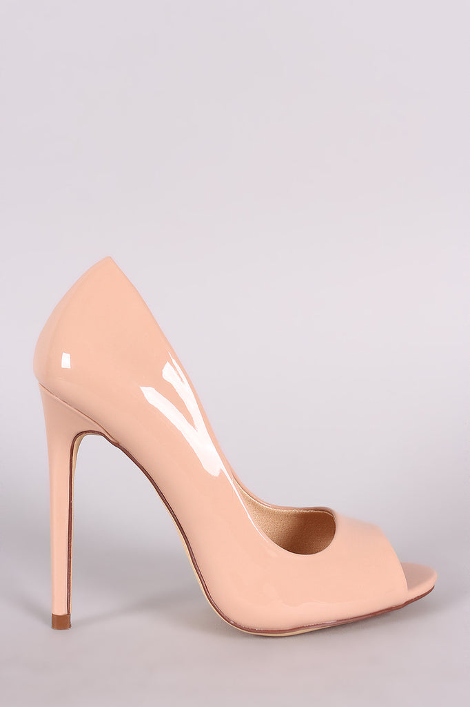 Liliana Glossy Peep Toe Stiletto Pump