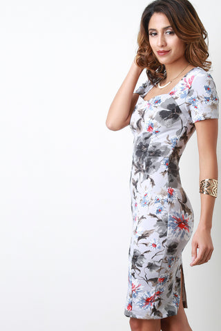 SWEETHEART FLORAL BODYCON MIDI DRESS