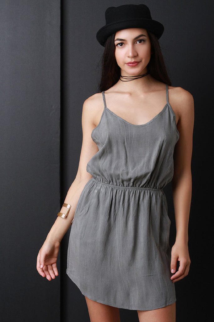 Scoop Neck Elastic Waist Mini Dress