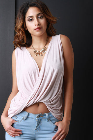 Twisted Drape Sleeveless Crop Top