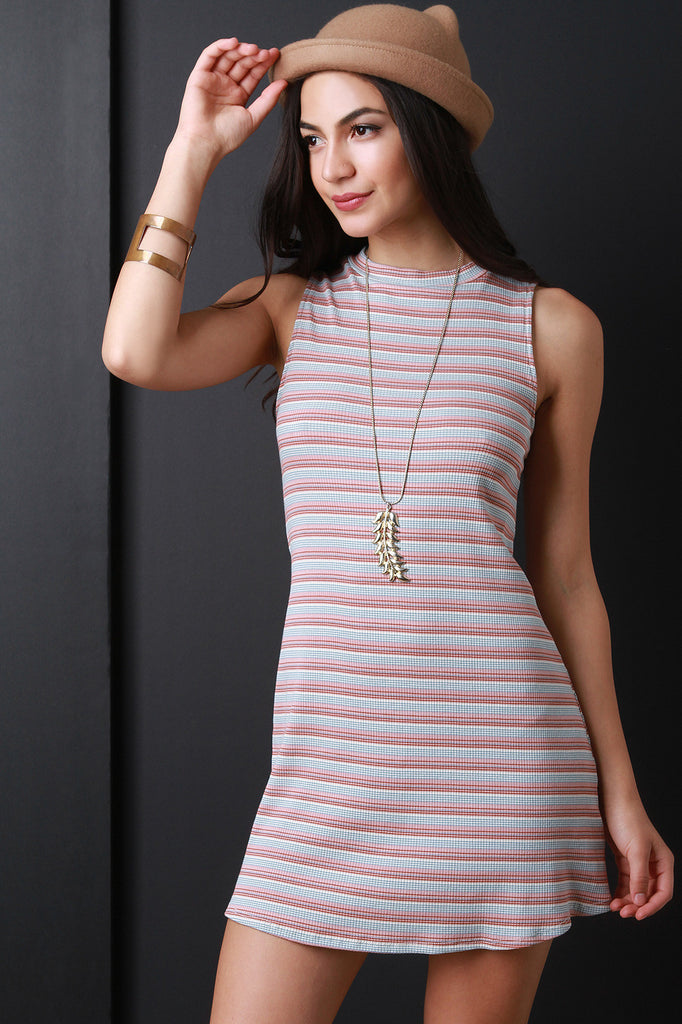 Multi-Stripe Mock Neck Sleeveless Dress