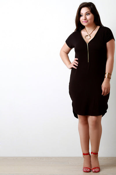 Jersey Zip-Up Midi Dress