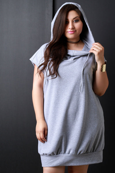 Cowl Neck Hoodie Pocketed Shirt Dress