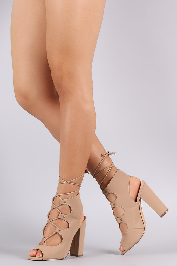 Peep Toe Studded Lace-Up Chunky Mule Heel