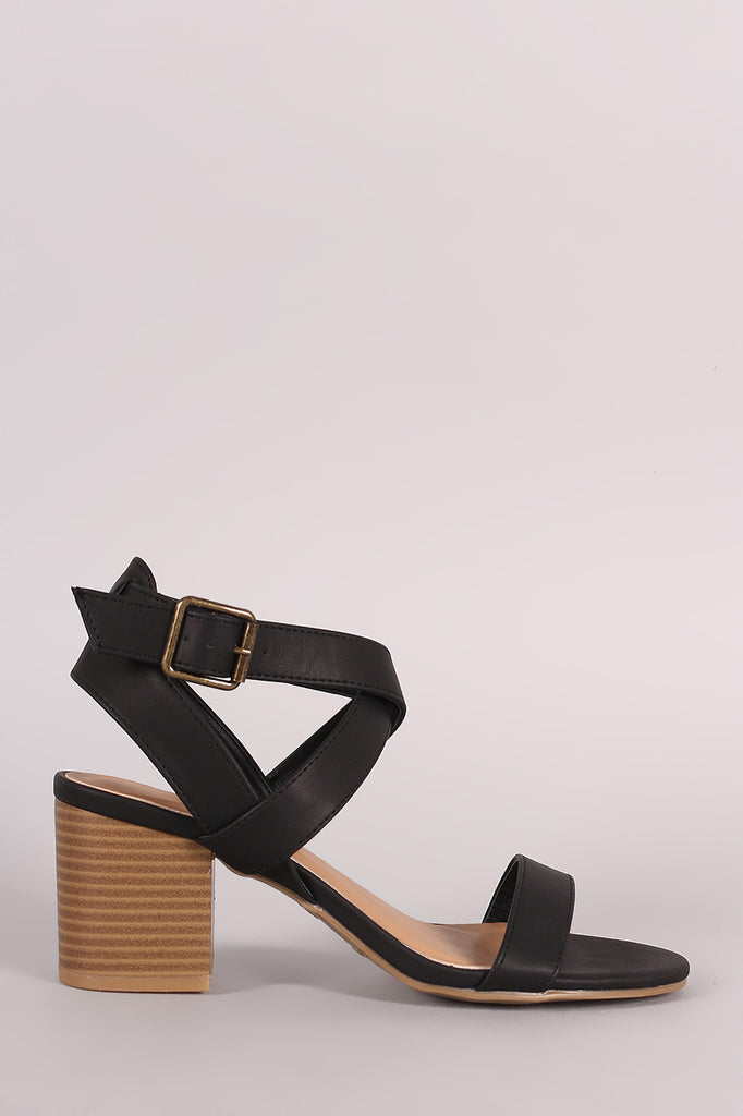 Bamboo Crisscross Ankle Strap Chunky Block Heel