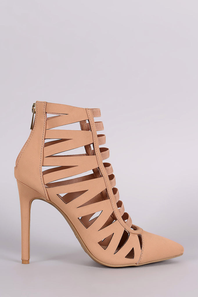 Anne Michelle Pointy Toe Elastic Strap Caged Pump