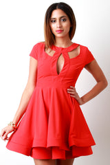 Fit and Flare Keyhole Open Back Skater Dress