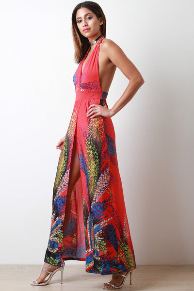 Fireworks Print Halter Sleeveless Slit Maxi Dress