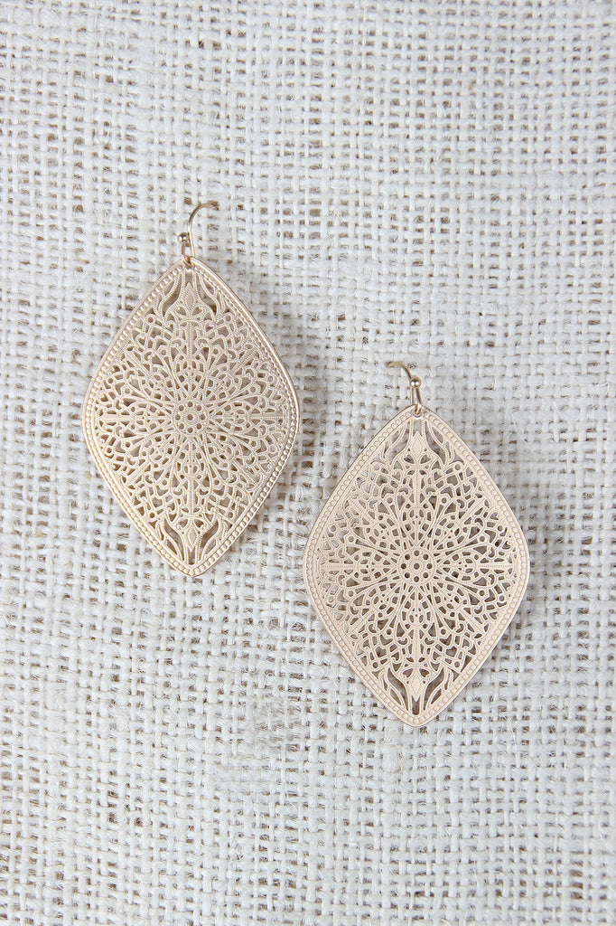 Filigree Diamond Shaped Dangle Earrings
