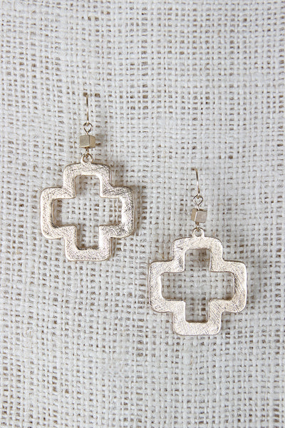 Open Cross Dangle Earrings
