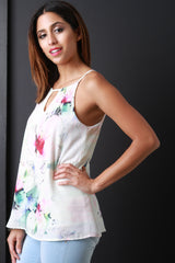 Pastel Florals Sleeveless Trapeze Top